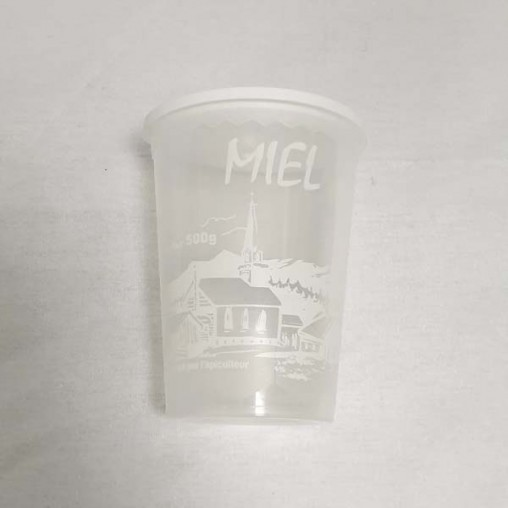 """Pot plastique transparent impression blanche """"miel"""" - 500 g (unité)"""